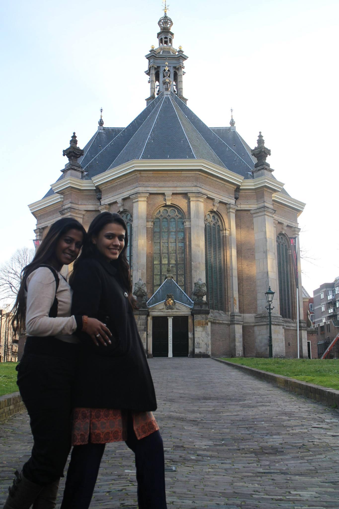 Nirali and Sangeeta at De Nieuwe Kerk